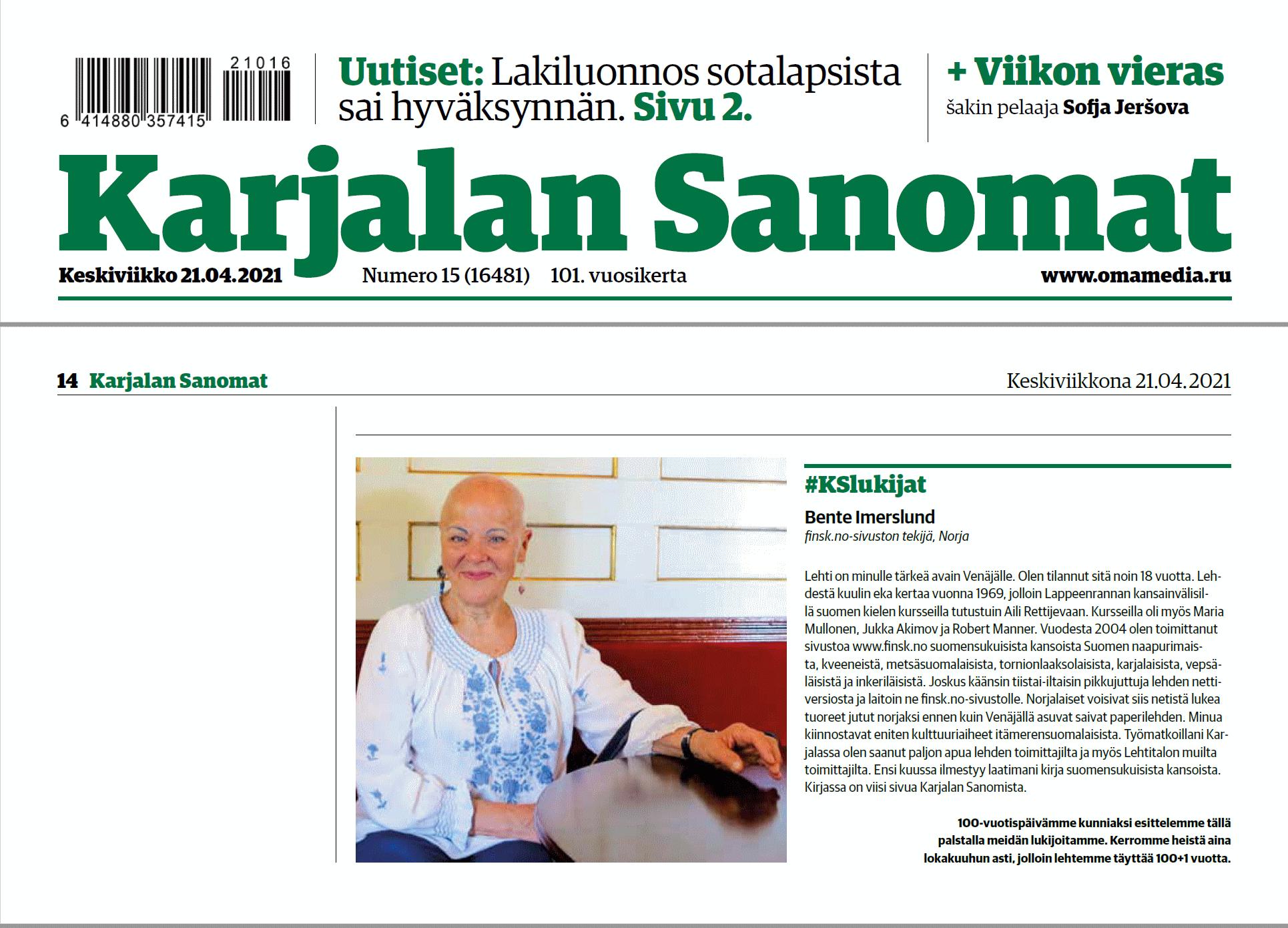 Karjalan Sanomat Bente Imerslund